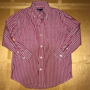 Gap Red Vertical Striped Button Down Shirt